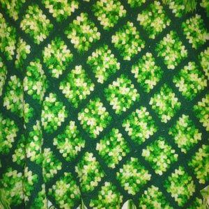 Vintage green lap blanket throw afghan handmade